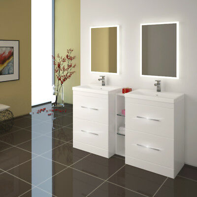 Bathroom Cloakroom 1400mm Patello Vanity Twin Sink Unit White with Storage