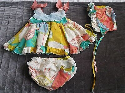 Nini spanish dress bonnet and knickers 2 years  (18-24months )