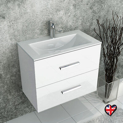 Bathroom Fitted Furniture Wall Sonix 610mm White Twin Drawer Unit with Sink