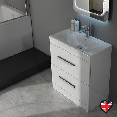 Bathroom Fitted Furniture 610mm Patello Sink 2 Drawer Unit White with Storage