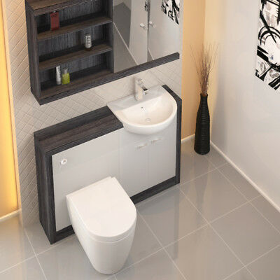 Bathroom Fitted Furniture 1200mm Hacienda Unit Grey White with-out Toilet