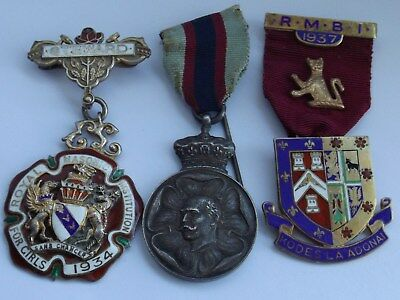 Solid Silver Masonic Jewels 1917 Duke Of Connaught Medal Rmbi 1936 Girls 1933