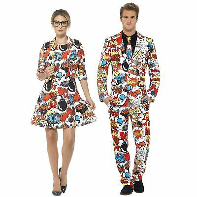 Adults Comic Strip Stand Out Suit Mens Ladies Novelty Fancy Dress Comedy Outfit