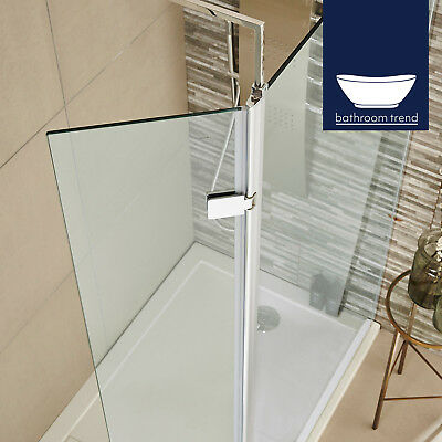 Wet room Shower Screen Bathroom 300mm Hinged Return Lifetime Guarantee