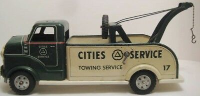 """Big Antique Pressed Steel Toy Tow Truck 20"""" Marx CITIES SERVICE Gasoline Co 1950"""