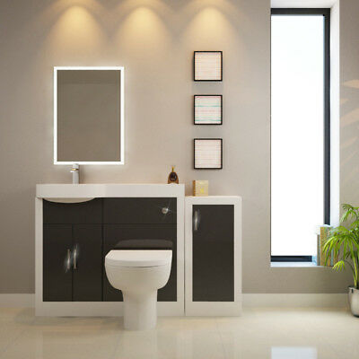 Bathroom Fitted Furniture Apollo 1400mm Unit White Grey with Toilet & Mirror LH