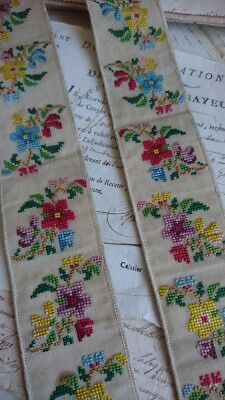 2 SWEET ANTIQUE FRENCH HAND EMBROIDERED NEEDLEPOINT BORDERS c1850 ATTIC FIND