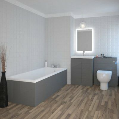 Complete Mercury Bathroom Suite and Vanity Unit with Sink Toilet Tap LED Mirror