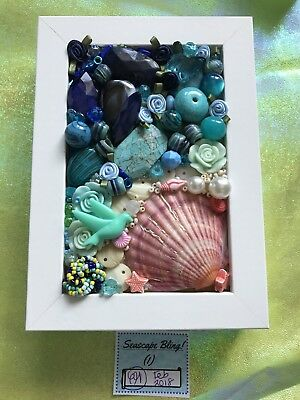 Handmade Jewellery Art - Box Frame -         Seascape Bling