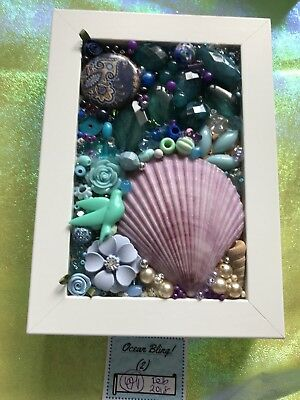 Handmade Jewellery Art - Box Frame - Ocean Bling