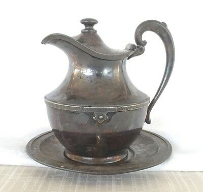 Antique Creamer/Syrup Pitcher w/saucer plate- 'Superior SP' 7015 - Free Shipping