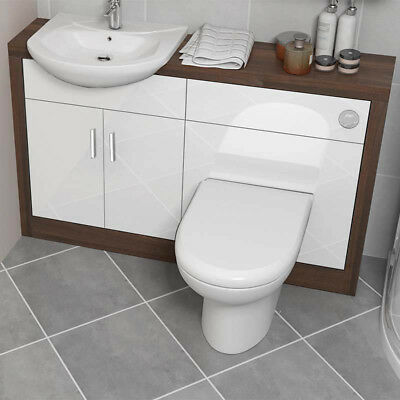 Bathroom Fitted Furniture 1200mm Lucido Unit Basin Walnut White with Toilet Tap