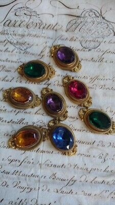 8 DIVINE ANTIQUE FRENCH BEJEWELLED FACETED COUTURE TEXTILE EMBELLISHMENTS c1880