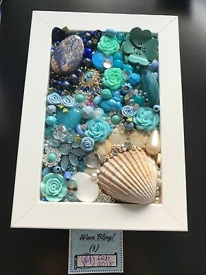 Handmade Jewellery Art - Box Frame - Wave Bling