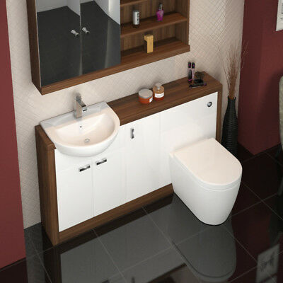 Combined 1500mm Bathroom Furniture Unit Suite Walnut White with Toilet and Basin