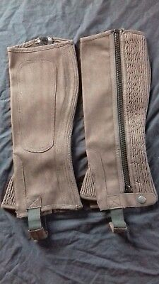 Good Quality Amara Brown Suede Horse-riding Chaps Gaiters Leggings Small Adult