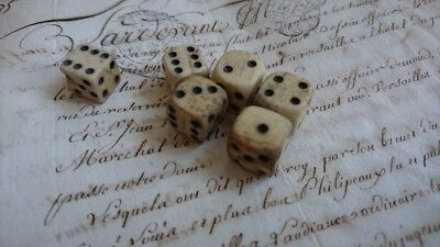BATCH 6  CHARMING ANTIQUE FRENCH TIMEWORN 18th CENTURY HAND MADE BONE DICE