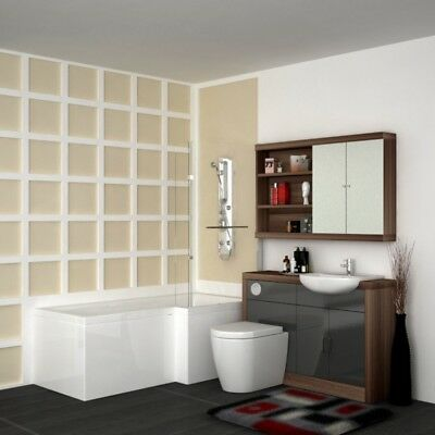 Complete Bathroom Shower Bath Set with Vanity Unit Walnut & Silver and Tap RH