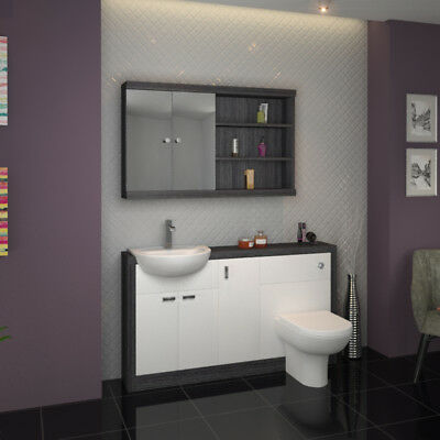 Bathroom Fitted Furniture 1500mm Hacienda Sink Unit Grey White with Toilet Tap