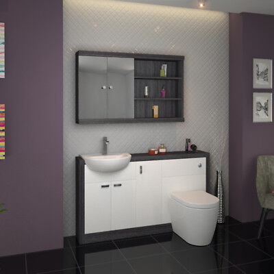 Bathroom Fitted Furniture 1500mm Hacienda Basin Unit Grey White with Toilet
