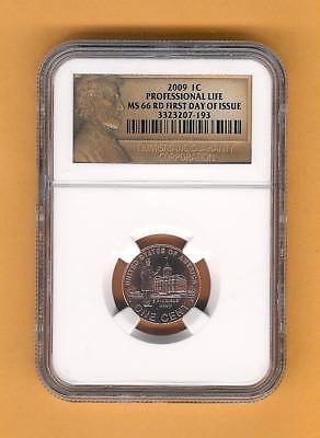2009 P Lincoln Professional life First Day Issue NGC Certified MS 66 RD Lp3 Cent