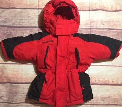 Columbia Sportwear Snow Jacket/Red,Black Hooded Size 2T Down