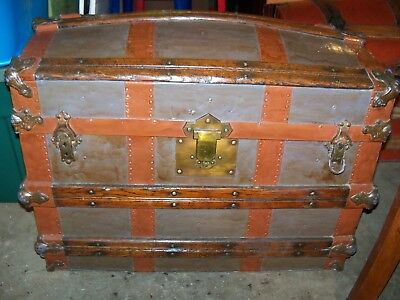 Antique Dome Top Steamer Trunk Victorian Wood Chest C 1800's refinished
