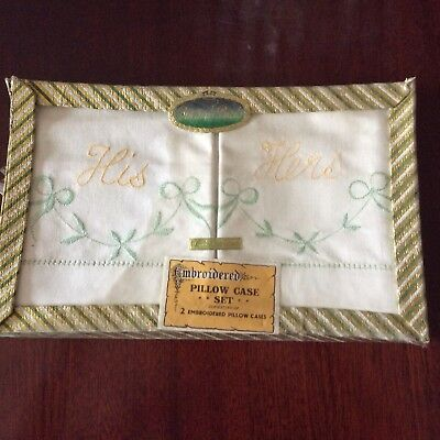Vintage Boxed  Linen Embroidered His & Hers Pillow Case Set