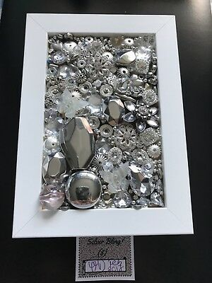 Handmade Jewellery Art - Box Frame - Silver Bling