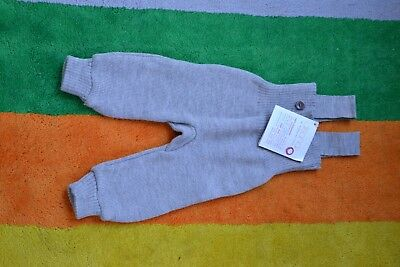 NEW Disana wool knitted baby trousers strick tragerhose 62-68 cm 2-6 months