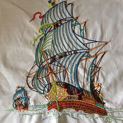 Vintage hand embroidered picture panel. GALLEON SHIP