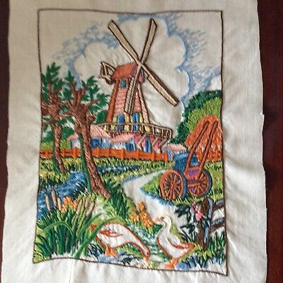 Vintage lavishly hand embroidered picture panel Watermill