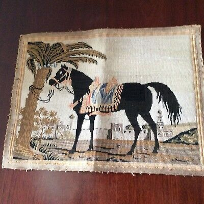"""Vintage Hand Woven Wool Tapestry Needlepoint Arabic Horse 12"""" x16""""(30 x40cm )"""