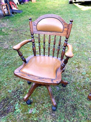 JAYCEE OLD CHARM STYLE  CAPTAINS SWIVEL CHAIR -  - SOLID OAK -  by ADAM BEDE