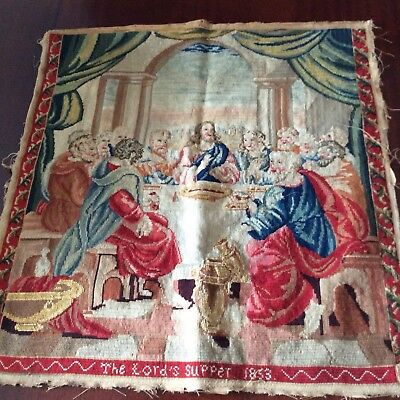 """Antique( 1853) Hand Woven Wool Tapestry Needlepoint-THE LAST (LORD""""S)SUPPER"""