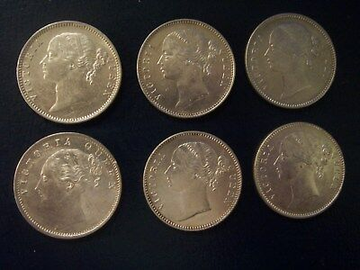 1840 British East India Company One Rupee Lot of 6 Coins AU Condition