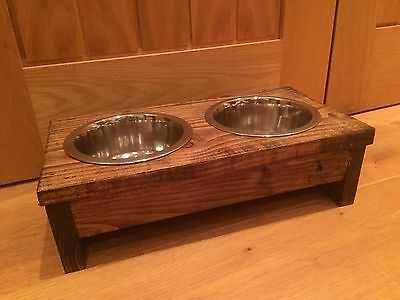 Handmade wooden dog bowl holder and bowls