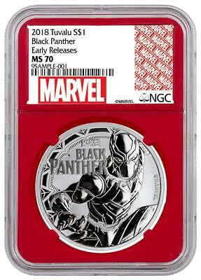 2018 Tuvalu Silver $1 - Marvel Characters - Black Panther - MS 70 ER - NGC Coin