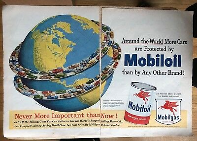 Original Print Ad 1951 MOBILGAS Around the World More Cars Protected 2 Page