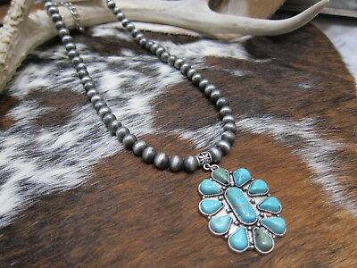 Western navajo style pearls and Turquoise pendant cowgirl ranch necklace