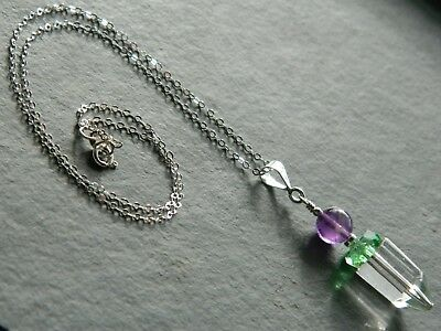 Art Deco Clear & Green Glass, Amethysts, 925 Silver Necklace Suffragette Colours