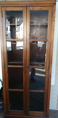 Antique Oak Bookcase Display Cabinet