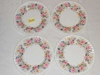 4 Minton ROSE GARLAND Dinner Plates Pink Free Ship
