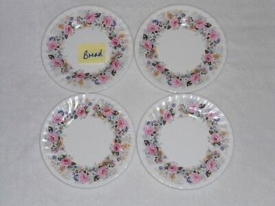 4 Minton ROSE GARLAND Bread Plates Pink Free Ship