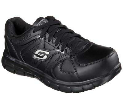 76553 Skechers Sandlot Women's  Alloy Toe Memory Foam Work Shoe Black