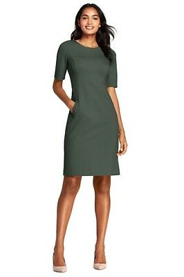 a7db78170a5 LANDS END WOMEN S Elbow Sleeve Ponte Sheath Dress Dark Balsam New ...