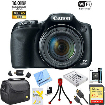 Canon PowerShot SX530 HS 16MP 50x Opt Zoom Full HD Camera 10 pc 32GB Bundle