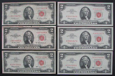 $2 Red Seal Currency Lot of 6