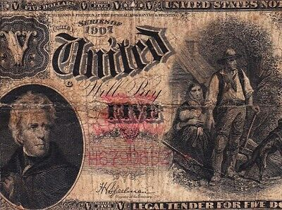 """Affordable $5 1907 """"WOODCHOPPER"""" US Note! FREE SHIPPING! H67906523"""