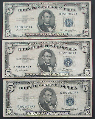 $5 Silver Certificate Currency Lot of 3